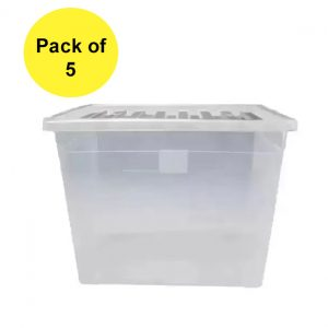 5 x 80 Litre Plastic Container With Clear Lid (Pack of 5)