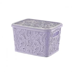5.5 Litre Lilac Plastic Lace Storage Box With Lid