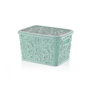 5.5 Litre Pastel Green Plastic Lace Storage Box with Lid