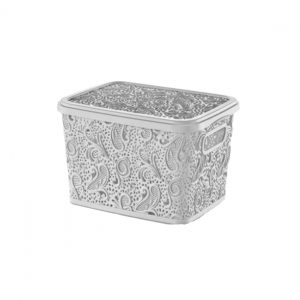 5.5 Litre White Plastic Lace Storage Box with Lid