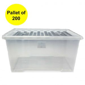 50 Litre Plastic Storage Boxes with Clear Lid (Pallet of 200)