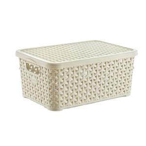 6 Litre Plastic Storage Boxes In Cream Rattan Design