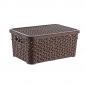 6 Litre Plastic Storage Boxes In Dark Brown Rattan Design