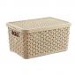 6 Litre Plastic Storage Boxes In Light Brown Rattan Design