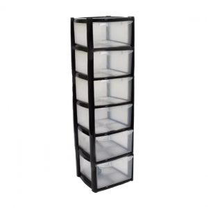 6 Drawer Plastic Storage Tower Unit - Black