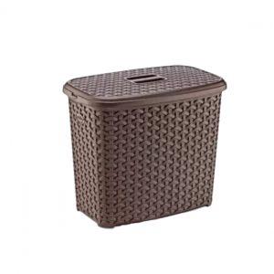 6 Litre Brown Plastic Rattan Detergent Box