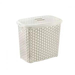 6 Litre Cream Plastic Rattan Detergent Box