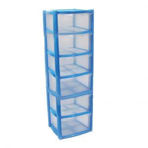 6 Drawer Plastic Storage Tower Unit - Blue