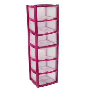 6 Drawer Plastic Storage Tower Unit - Pink