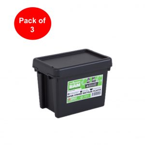 Black Recycled 6.5L Heavy Duty Box & Lid (Pack of 3)
