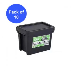 Black Recycled 6.5L Heavy Duty Box & Lid (Pack of 10)