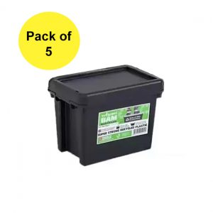 Black Recycled 6.5L Heavy Duty Box & Lid (Pack of 5)