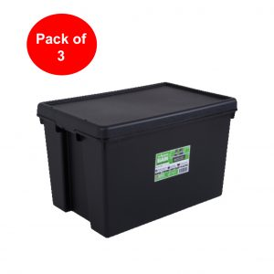 Black Recycled 62L Heavy Duty Box & Lid (Pack of 3)