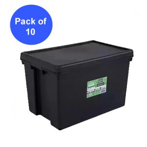 Black Recycled 62L Heavy Duty Container & Lid (Pack of 10)