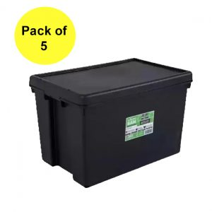 Black Recycled 62L Heavy Duty Container & Lid (Pack of 5)