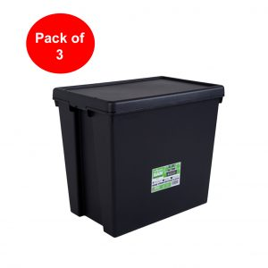 Black Recycled 92L Heavy Duty Box & Lid (Pack of 3)