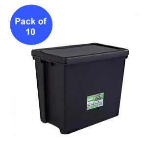 Black Recycled 92L Heavy Duty Container & Lid (Pack of 10)