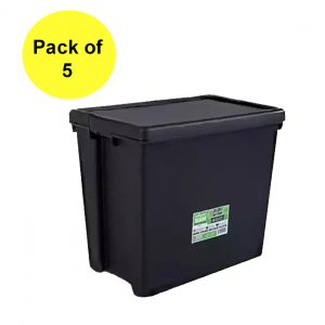 Black Recycled 92L Heavy Duty Box & Lid (Pack of 5)