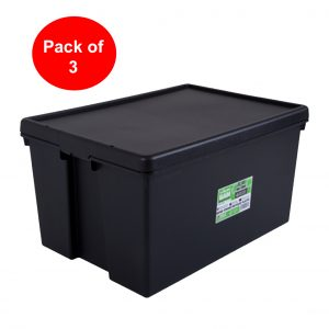 Black Recycled 96L Heavy Duty Container & Lid (Pack of 3)