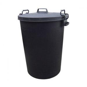 110 Litre Large Black Plastic Outdoor Bin