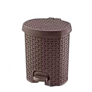 11.5 Litre Dark Brown Rattan Style Plastic Pedal Bin