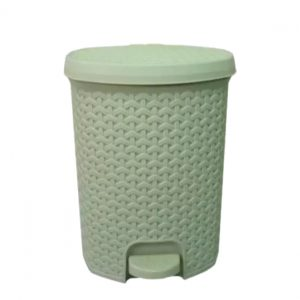 11.5 Litre Ivory Rattan Style Plastic Pedal Bin