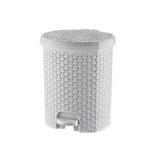 5.5 Litre White Rattan Style Plastic Pedal Bin