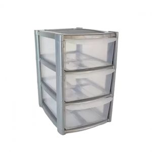 3 Drawer Storage Tower Unit - Silver - Mini/Desktop