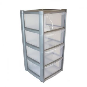 4 Drawer Plastic Storage Tower Unit - Silver