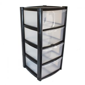 4 Drawer Plastic Storage Tower Unit - Black