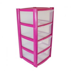 4 Drawer Plastic Storage Tower Unit - Pink
