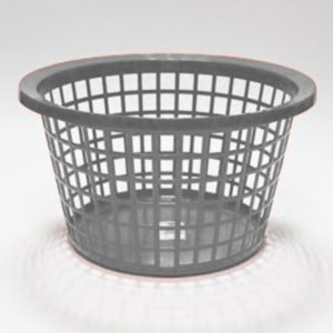 Silver Round Laundry Basket