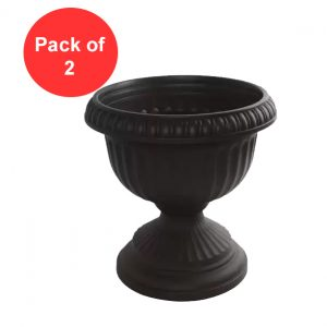 42cm Plastic Garden Urn, Black Grecian Planter (Pack of 2)