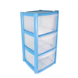 3 Drawer Plastic Storage Tower Unit - Blue