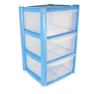 3 Drawer Plastic Storage Tower Unit Blue