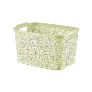 Plastic Cream Medium Lace Basket Box