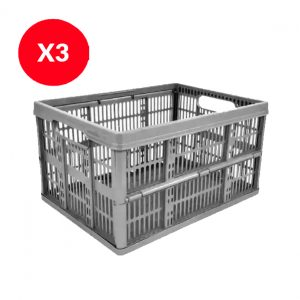 3 x 32 Litre Foldable Crate – Silver