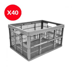 40 x 32 Litre Foldable Crate – Silver