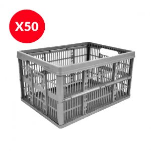 50 x 32 Litre Foldable Crate – Silver