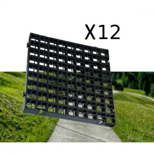 12 x Black Heavy Duty Plastic Greenhouse Pavement Path Driveway Grass Grid (3 Square Metres)