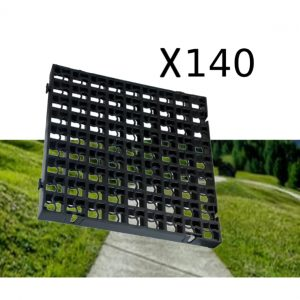 140 x Black Heavy Duty Plastic Greenhouse Pavement Path Driveway Grass Grid (35 Square Metre)