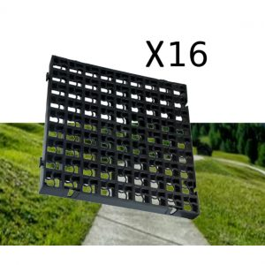 16 x Black Heavy Duty Plastic Greenhouse Pavement Path Driveway Grass Grid (4 Square Metre)