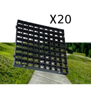 20 x Black Heavy Duty Plastic Greenhouse Pavement Path Driveway Grass Grid (5 Square Metres)