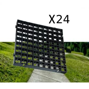 24 x Black Heavy Duty Plastic Greenhouse Pavement Path Driveway Grass Grid (6 Square Metres)