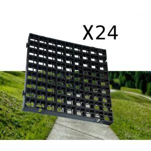 24 x Black Heavy Duty Plastic Greenhouse Pavement Path Driveway Grass Grid (6 Square Metres)