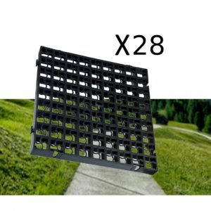28 x Black Heavy Duty Plastic Greenhouse Pavement Path Driveway Grass Grid (7 Square Metres)