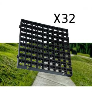 32 x Black Heavy Duty Plastic Greenhouse Pavement Path Driveway Grass Grid (8 Square Metres)