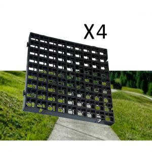 4 x Black Heavy Duty Plastic Greenhouse Pavement Path Driveway Grass Grid (1 Square Metre)