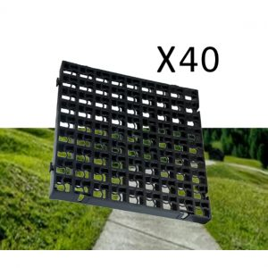 40 x Black Heavy Duty Plastic Greenhouse Pavement Path Driveway Grass Grid (10 Square Metres)
