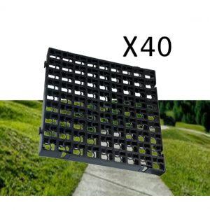 40 x Black Heavy Duty Plastic Greenhouse Pavement Path Driveway Grass Grid (10 Square Metres)